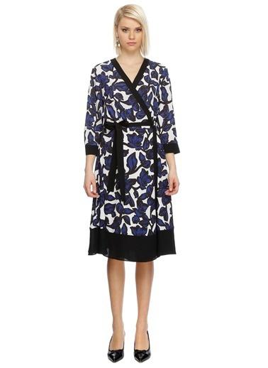 Fabrika V Yaka Desenli Anvelop Elbise Lacivert
